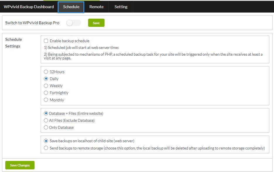 Free version backup schedule
