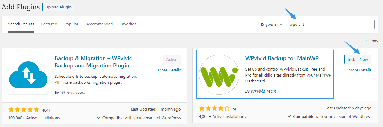 Install WPvivid Backup for MainWP Extension