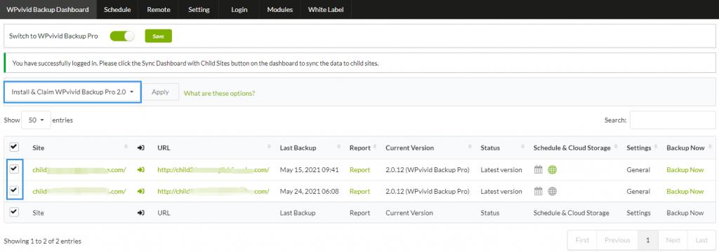 Install WPvivid pro via MainWP