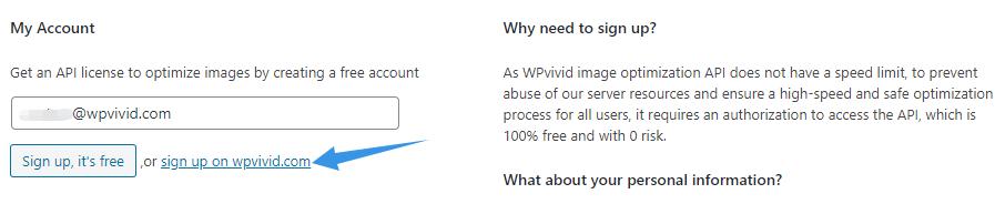 Sign up to get WPvivid API license