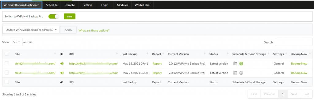 WPvivid backup extension dashboard