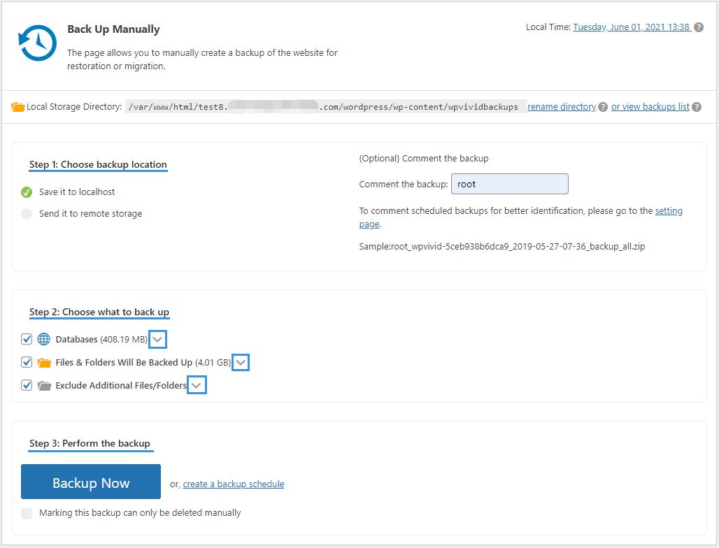 WPvivid Pro Manual Backup Page