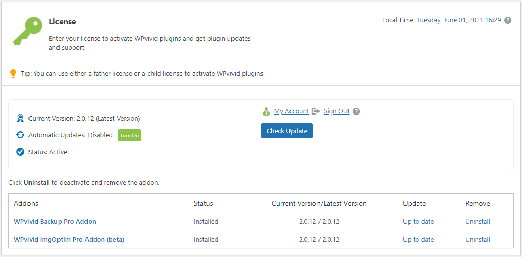 WPvivid pro license page