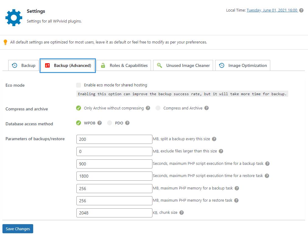 WPvivid pro settings