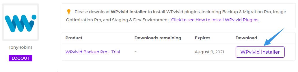 Download WPvivid installer
