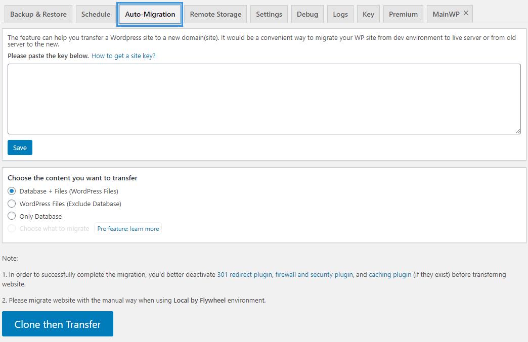WPvivid Backup Plugin Auto Migration Page