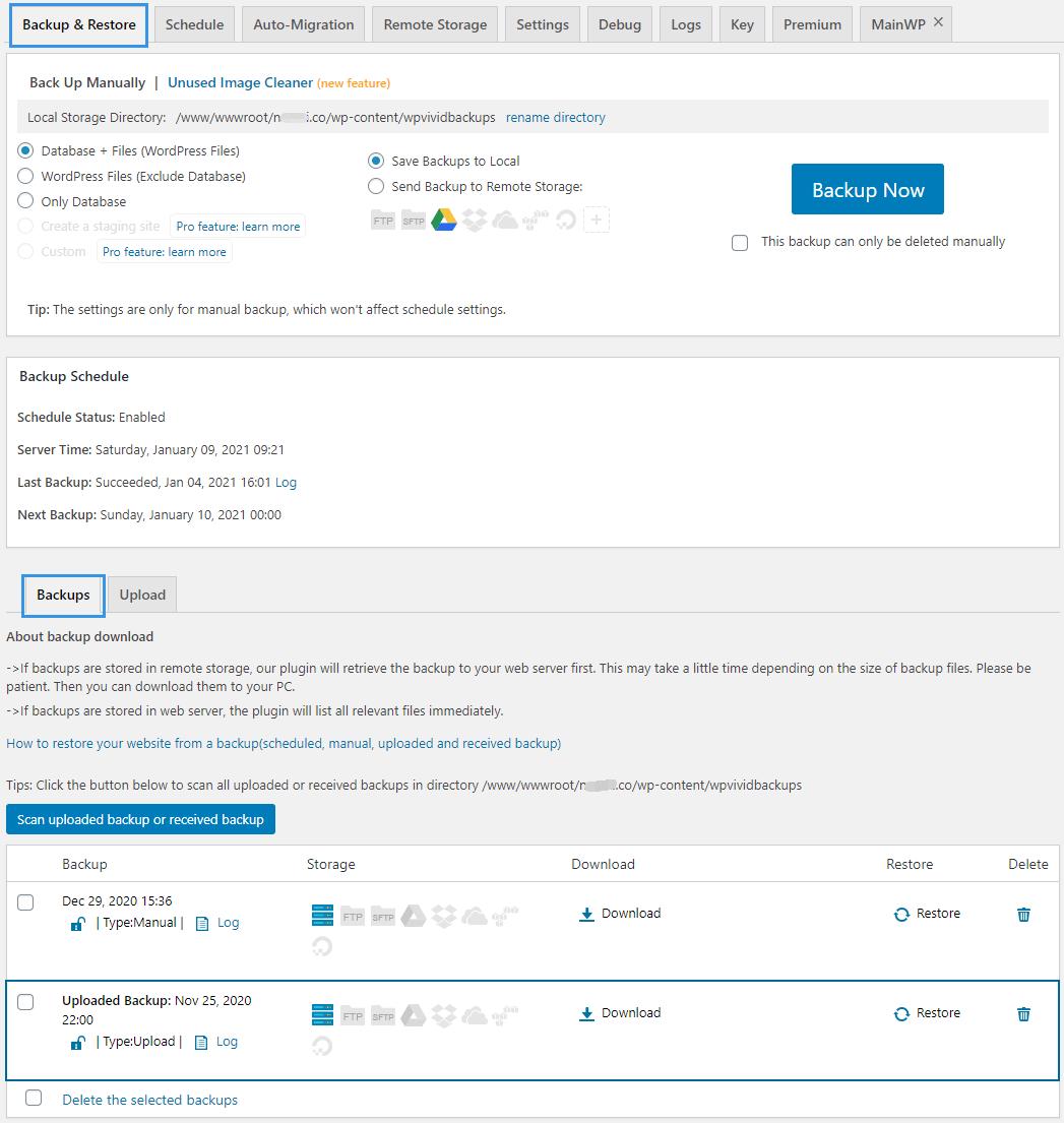 WPvivid Backup Plugin Backup Restore Page