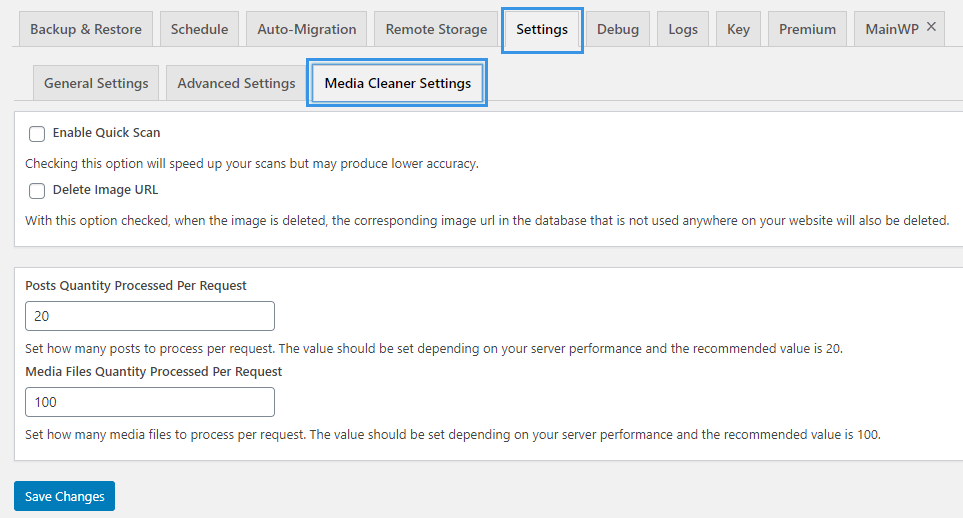 WPvivid Backup Plugin Media Cleaner Settings