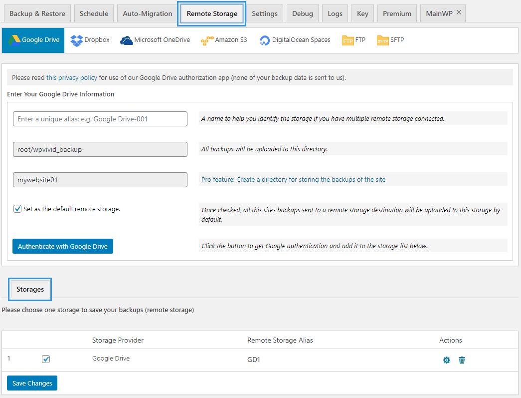 WPvivid Backup Plugin Remote Storage Page