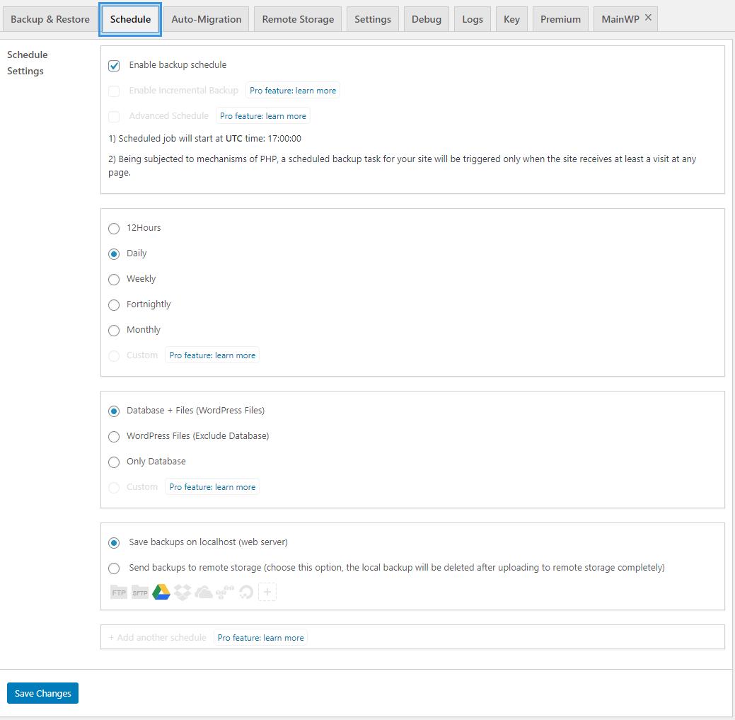WPvivid Backup Plugin Schedule Page