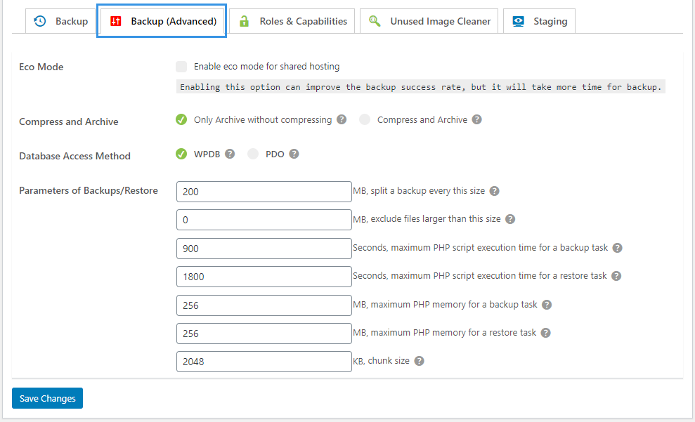 WPvivid Backup Pro Advanced Settings