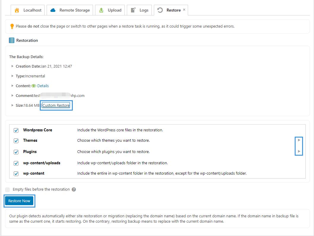 WPvivid Backup Pro Restore Incremental Backup