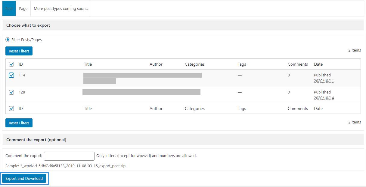 WPvivid Backup Plugin Export Download Posts