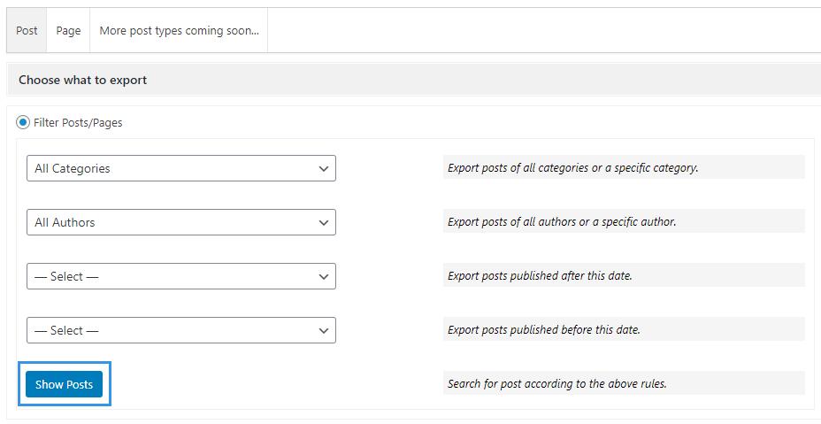 WPvivi Backup Plugin Export Show Posts