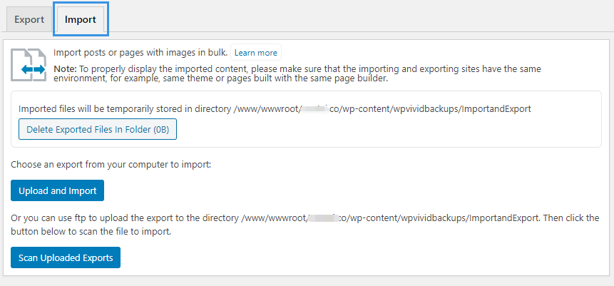 WPvivid Backup Plugin Import Posts Pages