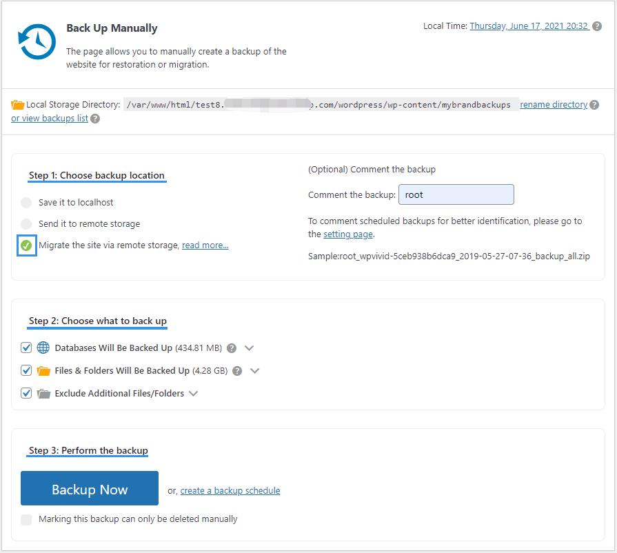 Backup pro migration via remote storage