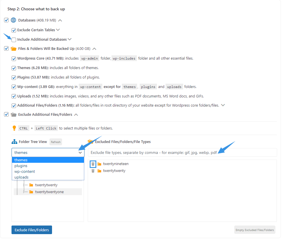 WPvivid Pro Choose Backup Content