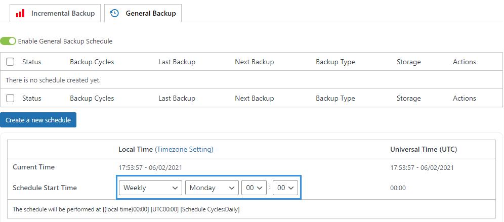 WPvivid pro customize backup schedule start time