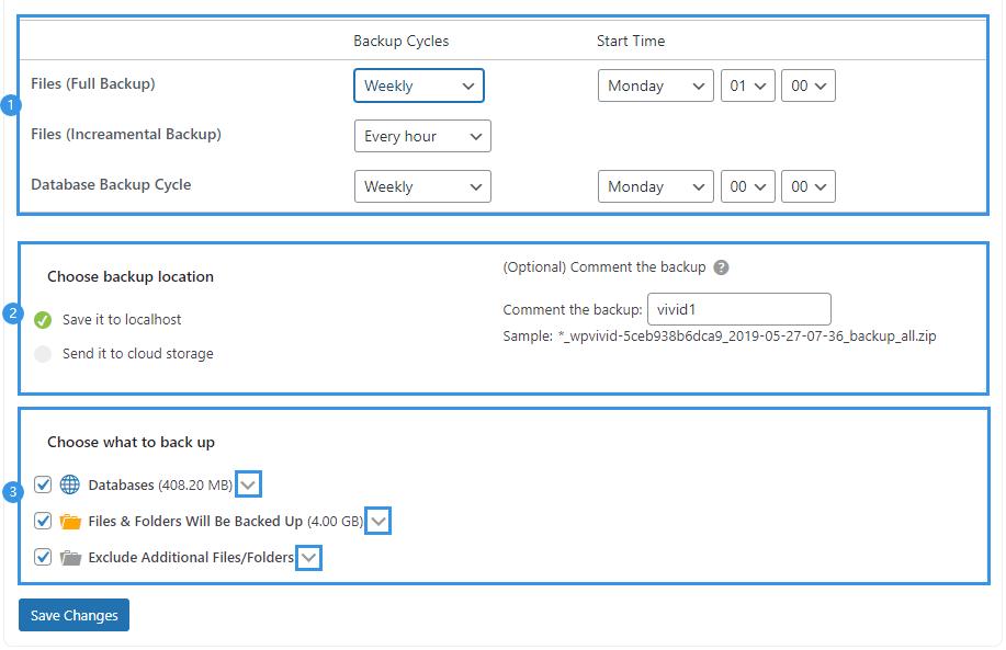 WPvivid pro edit incremental backup schedule