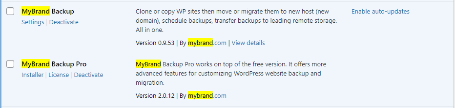 WPvivid pro white label plugin list