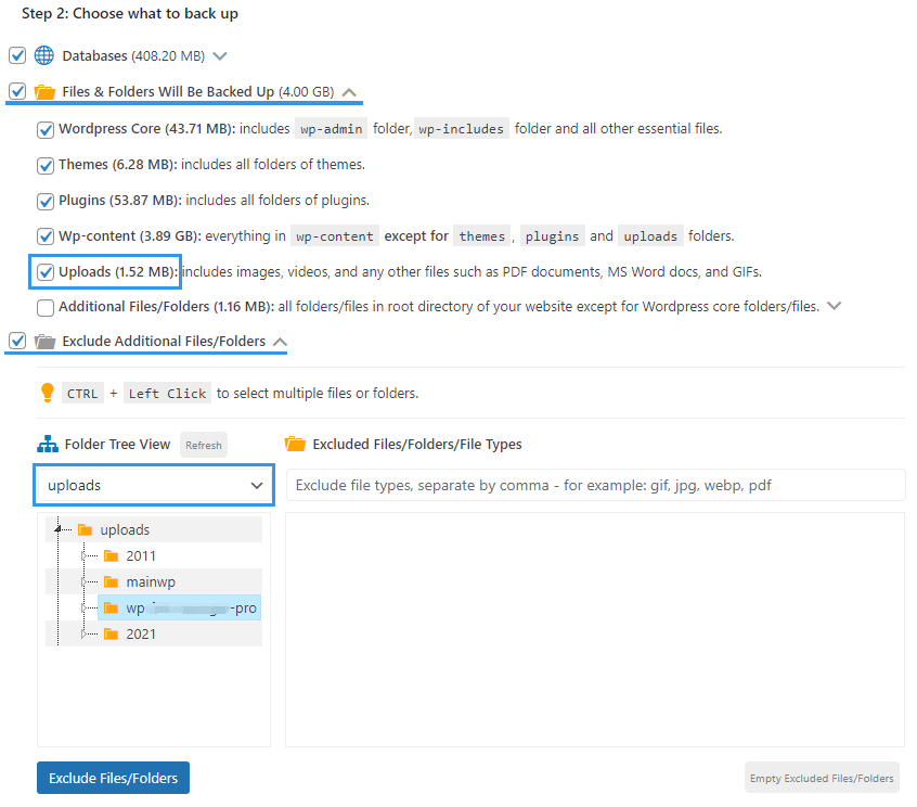 WPvivid uploads folder backup