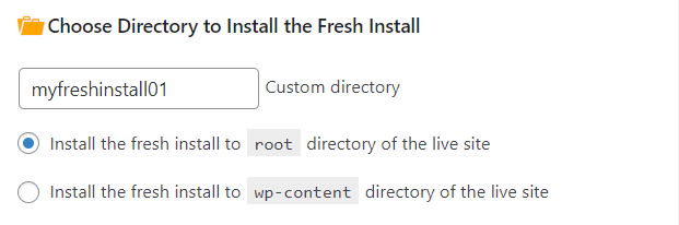 Staging Pro choose subdirectory fresh install