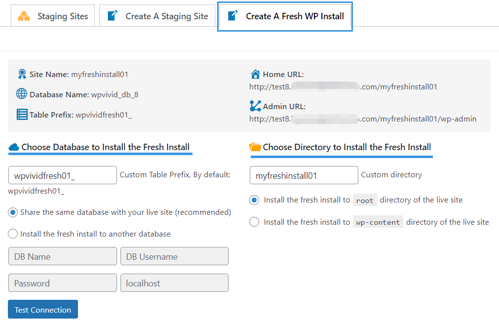 Staging pro create fresh install