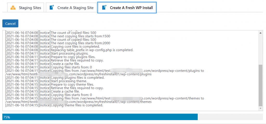 Staging Pro creating fresh install