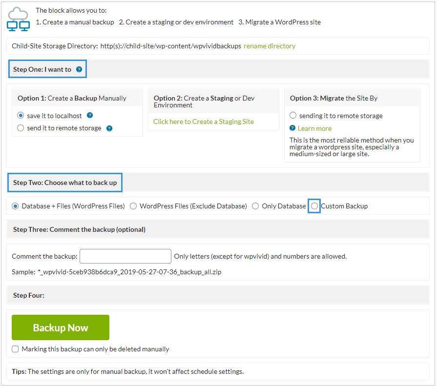 WPvivid Mainwp extension create backup manually